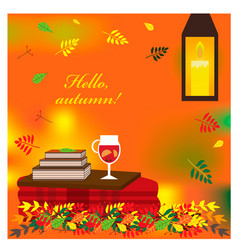 cozy autumn with plaid and mulled vector image