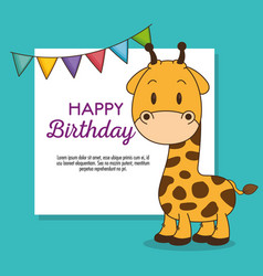 cute and little giraffe birthday card vector image