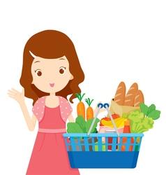 Cute girl holding shopping baskets full eating vector