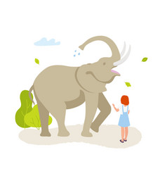 cute small girl looking at the large elephant in vector image