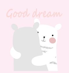 Cute spring teddy say good dream doodle art vector