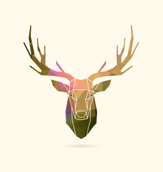 deer frame portrait color poly vector image