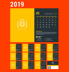 Desk calendar for 2019 year design template with vector