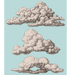 Detailed vintage style clouds set vector image