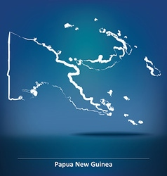 Doodle Map of Papua New Guinea vector