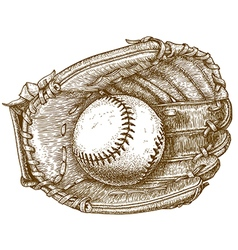 Engraving baseball glove and ball vector