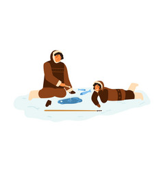 eskimo people in traditional winter costumes vector image
