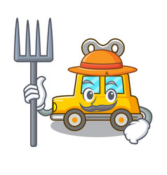 Farmer character clockwork car for toy children vector