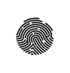 finger print flat scan circle fingerprint icon vector image