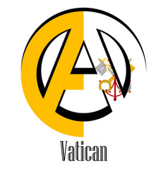 Flag of the vatican city of the world in the form vector