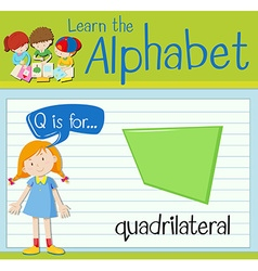 Flashcard letter Q is for quardrilateral vector image