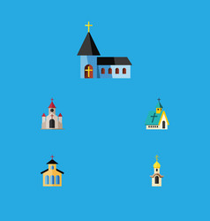 Flat icon building set of architecture christian vector