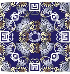 floral ornate 3d greek seamless mandala vector image