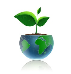 Flower pot in the form of the planet earth vector image vector image