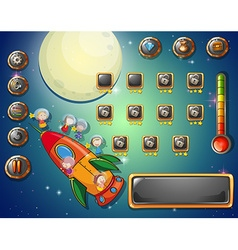 Game template with space theme vector