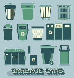 Garbage and Recycling Cans vector image