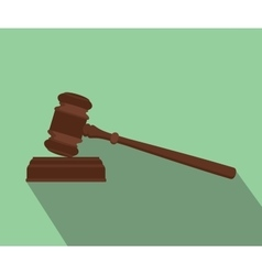 gavel isolated flat with long shadow green vector image