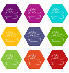 gift icons set 9 vector image