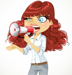 Girl cries or protests through a megaphone vector image vector image