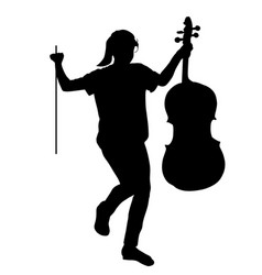 girl graduating music school cello silhouette vector image