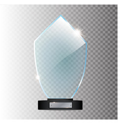 glass shining trophy isolated on black vector image