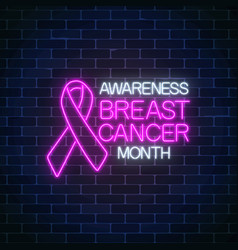 glowing neon sign of breast canser awareness vector image