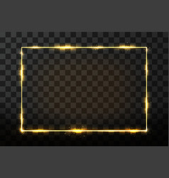 Golden frame with glow effect neon rectangle vector