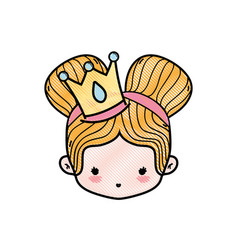 Grated girl head with crown and two buns hair vector