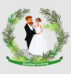 groom and bride cartoon characters vector image