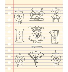 Hand draw Chinese theme greeting card vector