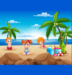 happy kids sitting on the sand beach vector image