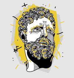 Hercules portrait sculpture creative geometric vector