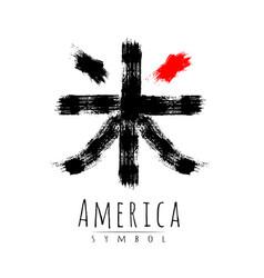 Hieroglyph symbol japan word america brush vector