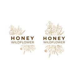 Honey label for package wildflower logo sketch vector