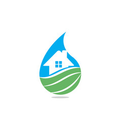 house logo incorporated with water vector image
