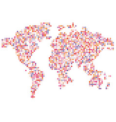 isolated pink color worldmap of dots on white vector image vector image