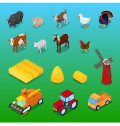 Isometric Farm Animals and Agricultural Transport vector