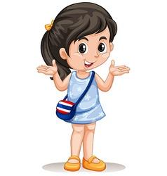 Little asian girl with handbag vector