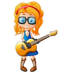 little girl with a guitar vector image
