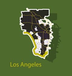 los angeles map flat style design - sticker vector image