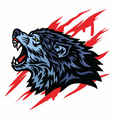 mad wolf logo template mascot design vector image