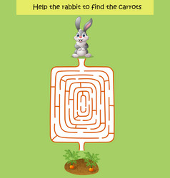 maze game help the rabbit to find the carrot vector image