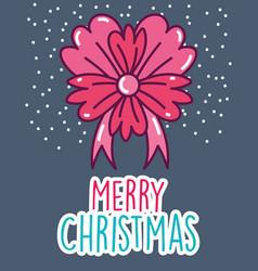 merry christmas celebration flower ribbon snow vector image