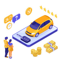 Online sale insurance rental sharing car isometric vector