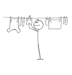 person or man hanging clean clothes on line using vector image