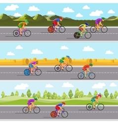 Racing bicyclists on bikes Seamless panoramic vector