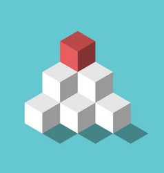 red cube pyramid top vector image