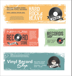 retro vinyl records background collection vector image