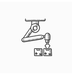 Robotic packaging sketch icon vector image