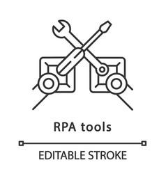 Rpa tools linear icon vector